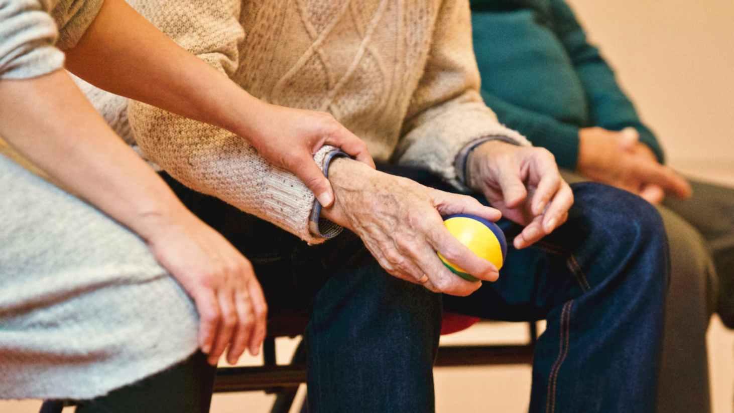 elderly man at elder care facility